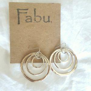 FABU Hammered Silver Tone Pierced Earrings